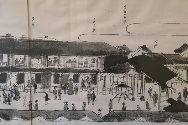 店内には昔(明治以降)の吉原の絵図がコピーではあるが貼られている。(鷲神社)